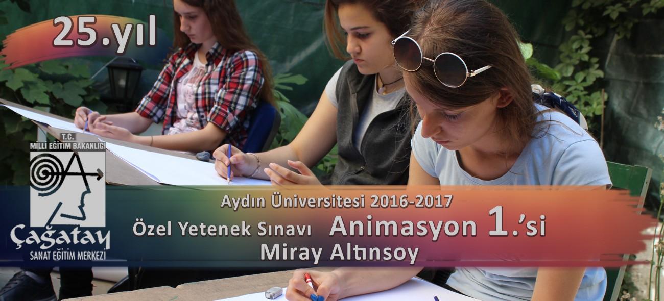 Aydın Üniversitesi Özel Yetenek Sınavları Animasyon Birincisi Miray Altınsoy